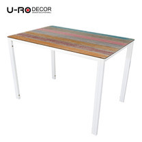 U-RO DECOR รุ่น KLASY Dining Table (BRUSH-WOOD design 140x80 cm.) - Multi-color /White leg