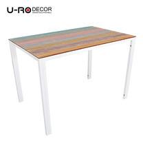 U-RO DECOR รุ่น KLASY-S Dining Table (BRUSH-WOOD design 110x70 cm.) - White leg