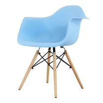 U-RO DECOR เก้าอี้รับประทานอาหารเท้าแขน รุ่น CHARLOTTE (ชาร์ลอตต์) - สีฟ้า /ขาไม้บีช