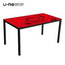 U-RO DECOR รุ่น KLASY Dining Table (RED ROSE design 140x80 cm.) - Red /Black leg