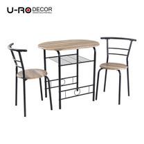 U-RO DECOR ชุดโต๊ะรับประทานอาหาร (โต๊ะ 1 + เก้าอี้ 2 ตัว) รุ่น CHERRY - สีวินเทจแนเชอรัล/ขาสีดำ