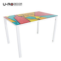 U-RO DECOR รุ่น KLASY-S Dining Table (WINE design 110x70 cm.) - White leg