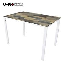 U-RO DECOR รุ่น KLASY Dining Table (INGLE WOOD design 140x80 cm.) - Brown /White leg