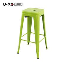 U-RO DECOR เก้าอี้บาร์สตูลเหล็ก รุ่น ZANIA-L (ซาเนีย-แอล) - สีเขียว