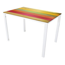 U-RO DECOR รุ่น KLASY Dining Table (COLOR WOOD design 140x80 cm.) - Multi-color /White leg