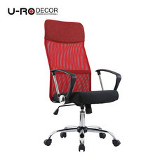 U-RO DECOR เก้าอี้สำนักงานสำหรับผู้บริหาร รุ่น SUN-F สีแดง/เบาะนั่งสีดำ