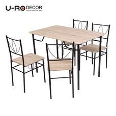 U-RO DÉCOR ชุดโต๊ะรับประทานอาหาร LAURA-C (โต๊ะ 1 + เก้าอี้ 4) - สีซานรีโม่ / ขาสีน้ำตาล
