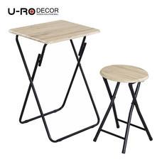 U-RO DECOR ชุดโต๊ะรับประทานอาหารพับได้ (โต๊ะ 1 + สตูล 1) รุ่น Hawaii - สีซานรีโม่ /ขาสีดำ