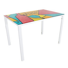 U-RO DECOR รุ่น KLASY-S Dining Table (WINE design 110x70 cm.) - White leg