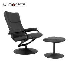 U-RO DÉCOR เก้าอี้โซฟาปรับนอนได้ พร้อมสตูลวางเท้า รุ่น SMILE - สีดำ