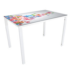 U-RO DECOR รุ่น KLASY-S Dining Table (JIGSAW design 110x70 cm.) - White leg