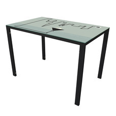 U-RO DECOR รุ่น KLASY-S Dining Table (LIGHT design 110x70 cm.) - Black leg