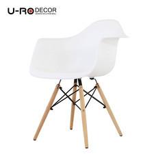 U-RO DECOR เก้าอี้รับประทานอาหารเท้าแขน รุ่น CHARLOTTE (ชาร์ลอตต์) - สีขาว /ขาไม้บีช