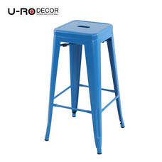 U-RO DECOR เก้าอี้บาร์สตูลเหล็ก รุ่น ZANIA-L (ซาเนีย-แอล) - สีฟ้า