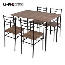 U-RO DÉCOR ชุดโต๊ะรับประทานอาหาร LANTA-C (โต๊ะ 1 + เก้าอี้ 4) - สีไลท์เชอร์รี่ / ขาสีน้ำตาล