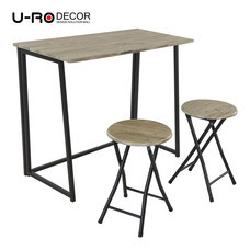 U-RO DECOR ชุดโต๊ะรับประทานอาหารแบบพับได้ รุ่น LUCY (โต๊ะ 1 + สตูล 2) สีโอ๊ค/ขาสีน้ำตาล