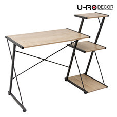 U-RO DECOR โต๊ะทำงาน / โต๊ะคอมพิวเตอร์ พร้อมชั้นวางของ 3 ชั้น รุ่น REVERSE - สีโอ๊ค/ขาสีน้ำตาลเข้ม