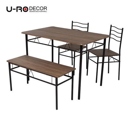 U-RO DÉCOR ชุดโต๊ะรับประทานอาหาร รุ่น LANTA-B (โต๊ะ 1 + เก้าอี้ 2 + ม้านั่งยาว 1) - สีไลท์เชอร์รี่ / ขาสีน้ำตาล
