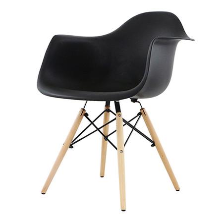 U-RO DECOR เก้าอี้รับประทานอาหารเท้าแขน รุ่น CHARLOTTE (ชาร์ลอตต์) - สีดำ /ขาไม้บีช