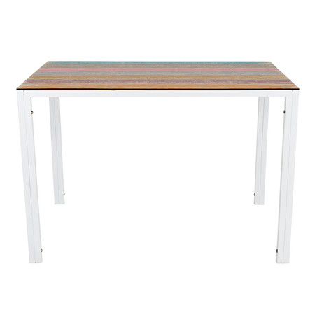 U-RO DECOR รุ่น KLASY-S Dining Table (BRUSH-WOOD design 110x70 cm.) - White leg
