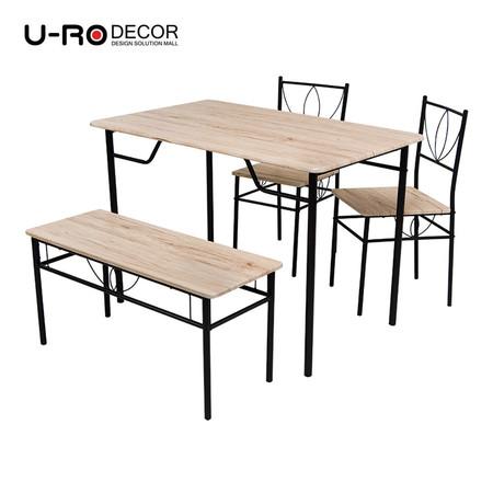U-RO DÉCOR ชุดโต๊ะรับประทานอาหาร รุ่น LAURA-B (โต๊ะ 1 + เก้าอี้ 2 + ม้านั่งยาว 1) - สีซานรีโม่ / ขาสีน้ำตาล