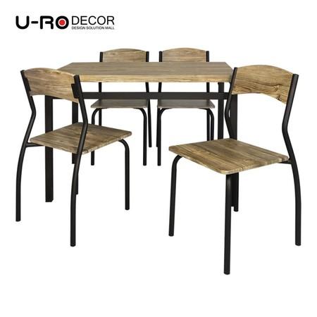 U-RO Decor รุ่น SONOMA (โซโนม่า) ชุดโต๊ะรับประทานอาหาร (โต๊ะ 1 + เก้าอี้ 4 ตัว) สีโอ๊ค/ขาสีน้ำตาลเข้ม