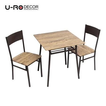 U-RO Decor รุ่น LUCKY (ลัคกี้) ชุดโต๊ะรับประทานอาหาร (โต๊ะ 1 + เก้าอี้ 2 ตัว) ชุดโต๊ะกินข้าว 2 ที่นั่ง สีโอ๊ค