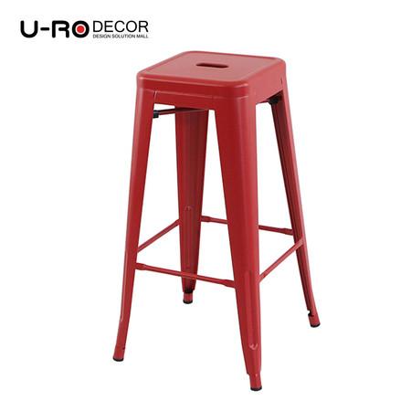 U-RO DECOR เก้าอี้บาร์สตูลเหล็ก รุ่น ZANIA-L (ซาเนีย-แอล) สีแดง