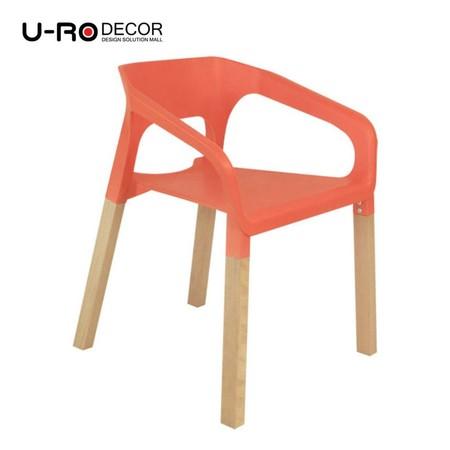 U-RO Decor รุ่น CONCORD (คองคอร์ด) เก้าอี้ดีไซน์ เก้าอี้พักผ่อน มีที่เท้าแขน เก้าอี้อเนกประสงค์ สีส้ม