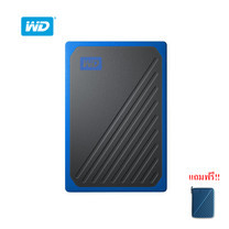 WD My Passport™ GO Portable SSD, 500GB, USB 3.0, speeds up to 400 MB/s, built-in cable, Cobalt colored