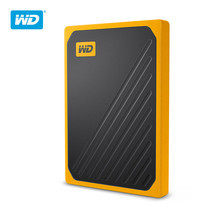 WD My Passport™ GO Portable SSD, 500GB, USB 3.0, speeds up to 400 MB/s, built-incable, Amber colored