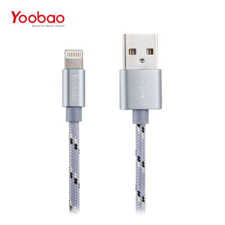 สายชาร์จ Yoobao Lightning Cable YB422 Ribbon 150 cm. - Grey