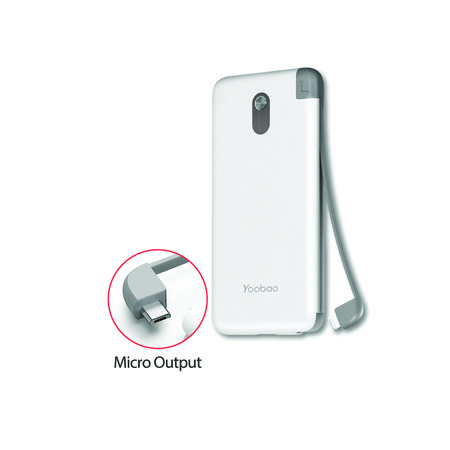 Yoobao Built-in Cable Power Bank S8K 8000mAh White - Micro USB