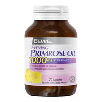 BEWEL Evening Primrose OIL 1000 mg Plus Vitamin-E (70 แคปซูล) 2 Bot Free! ตลับใส่ยา