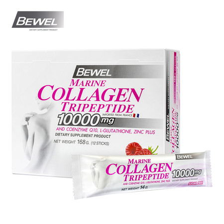 BEWEL Marine Collagen Tripeptide 10000 mg Raspberry (14 g x 12 pcs)