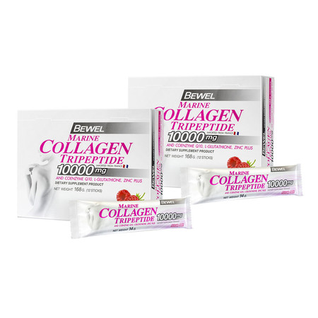 BEWEL Marine Collagen Tripeptide 10000 mg Raspberry (14 g x 12 pcs) Pack 2 Free! ตลับใส่ยา