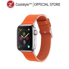 Streped Leather Band watch for apple watch (Spicy Orange/White)
