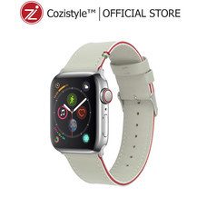 Striped Leather Watch Band for Apple Watch (White/Red) for 42/44mm