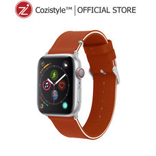 Streped Leather Band watch for apple watch (Spicy Orange/White) for 42/44mm