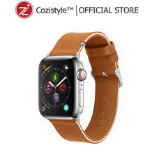 Striped Leather Watch Band for Apple Watch (Light Tan/White)