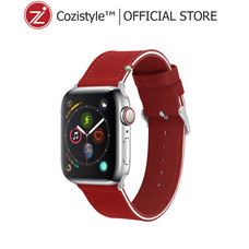 Streped Leather Band watch for apple watch (Frame Red) for 42/44mm