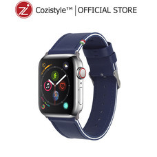 Striped Leather Band watch for apple watch (Blue Depth/White) for 42/44mm