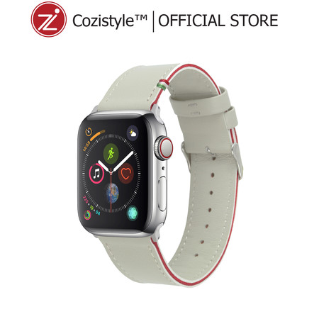Striped Leather Watch Band for Apple Watch (White/Red) for 42/44mm​