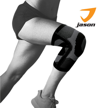 Jason เจสัน ผ้าซัพพอร์ตหัวเข่า แบบมีแกนขนาบข้าง ยืดหยุ่นได้ 360 องศา รุ่น Knee Support Black Size L