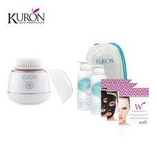 Kuron แปรงทำความสะอาดผิวหน้า Mini Sonic Brush รุ่น KU0139 (1 ชิ้น) + Whip Foam 2in1 (170ml) รุ่น KU0153 (2 ขวด) + กระเป๋าอเนกประสงค์ รุ่น KUZ006 + Kuron Mask Activated Carbon รุ่น KU0012 (2 กล่อง)