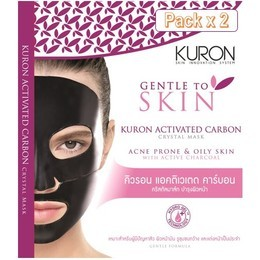 Kuron แผ่นมาส์กหน้า สูตร Activated Carbon Crystal Mask [Packx2]