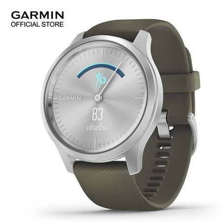Garmin vivomove Style - Silver with Moss Green Band