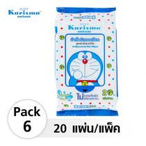 Karisma Doraemon ผ้าเช็ดทำความสะอาดยับยั้งแบคทีเรีย 20 แผ่น (6 แพ็ค)