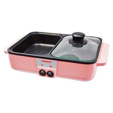 Newwave เตาปิ้งย่าง และ หม้อสุกี้ ทำอาหารเช้า ระบบไฟฟ้า 1000 วัตต์ สีชมพู (รับประกัน 1 ปี) BBQ-1001