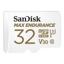 SanDisk MAX ENDURANCE microSDHC™ Card, SQQVR, (15,000 Hrs), UHS-I, C10, U3, V30, 100MB/s R, 40MB/s W, SD adaptor, 3Y - 32GB